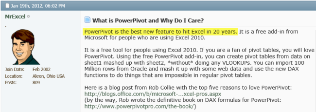 Bill Jelens Power Pivot opinion