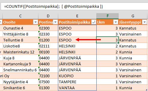 Yksilöllisten arvojen määrä (osa 1: Excel) (2/4)