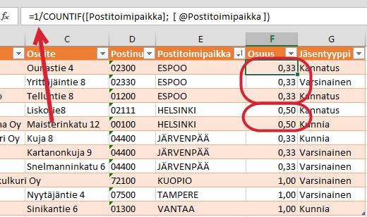 Yksilöllisten arvojen määrä (osa 1: Excel) (3/4)