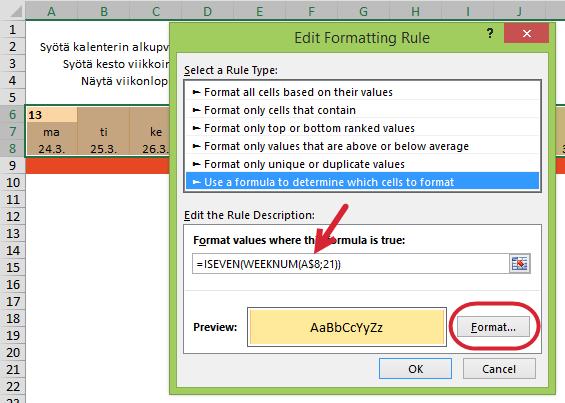 Vuoroväriset viikot Excel-kalenterissa – kaavoihin perustuvatmuotoilut
