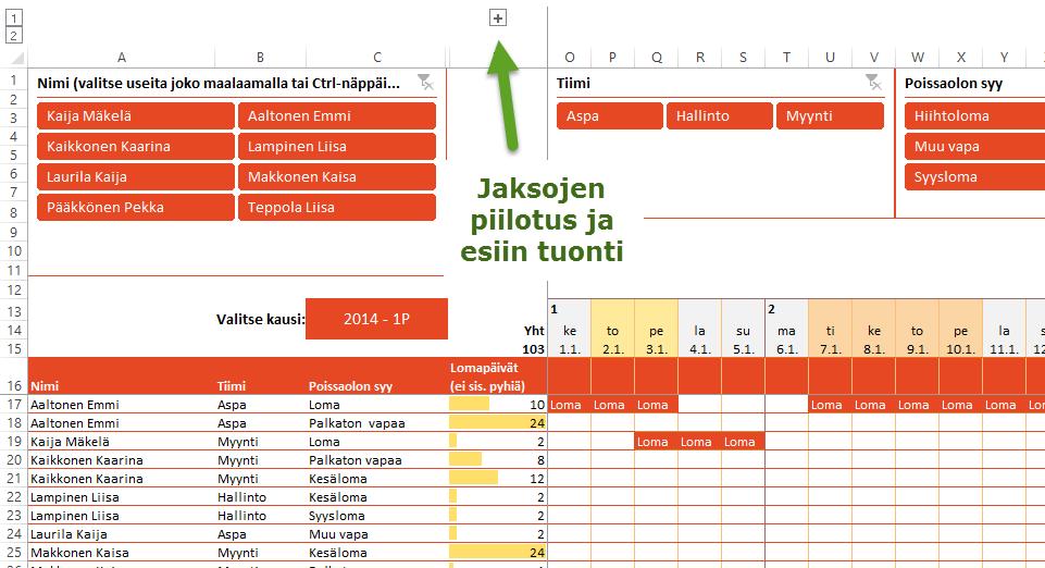 Uudistettu näppärä Excel-lomakalenteri (2/3)