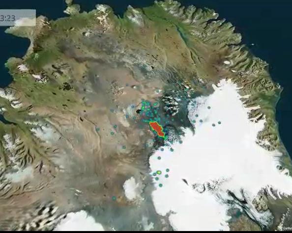 Vatnajökull-aktiivisuus havainnollistettuna PowerMapilla