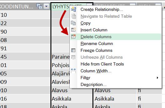 delete column