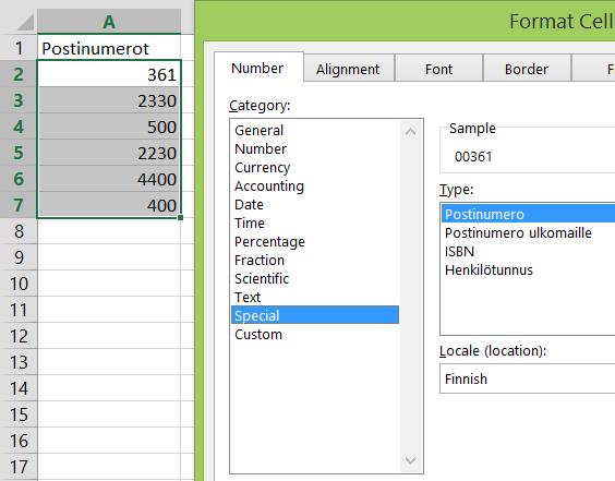 Postinumeroihin etunollat Excelissä (1/2)