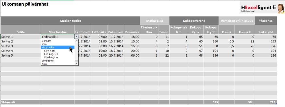 Kotimaan ja ulkomaan päivärahat Excelissä (2/2)