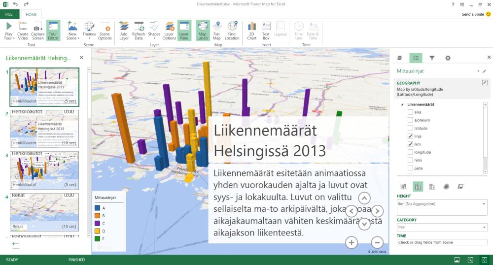 Helsingin liikennemäärät animaationa Excelissä (4/6)