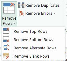 remove rows