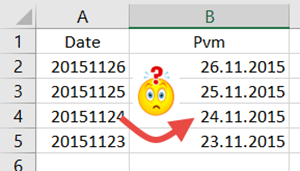 20151126 päivämääräksi Excelissä