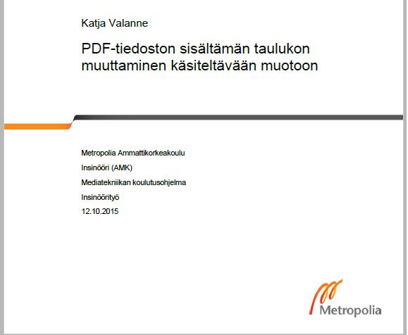 PDF-taulukon muuntaminen käsiteltäväänmuotoon
