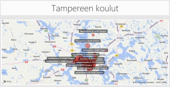 Tampereen koulut Power BI:llävisualisoituna